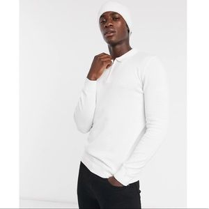 NWT Topman Knitted Zip Neck Polo in White